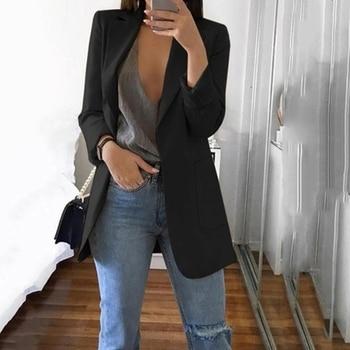 2020 European American Open Stitch Long Sleeve Pockets Cardigan Office Lady Casual Suit Jacket Female Fashion Lapel Slim Coats