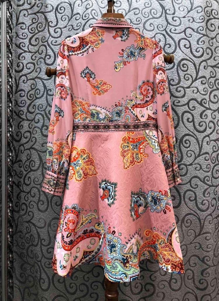Mais recente designer de moda vestido 2020 primavera festa evento feminino vintage jacquard floral impressão plissado retalhos azul rosa vestido xl - 2