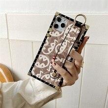 แบรนด์หรูสแควร์ Soft Case หนังสำหรับ Iphone 12 Mini 11 Pro X XR XS MAX 7 8 6 plus SE แฟชั่นฝาครอบด้านหลัง