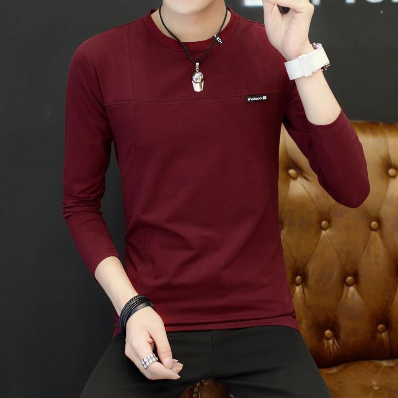Belbello Novo dos homens de Mangas Compridas T-shirt Outono Auto-cultivo de ventilação gola Redonda roupas de Maré atual dos homens Jovens