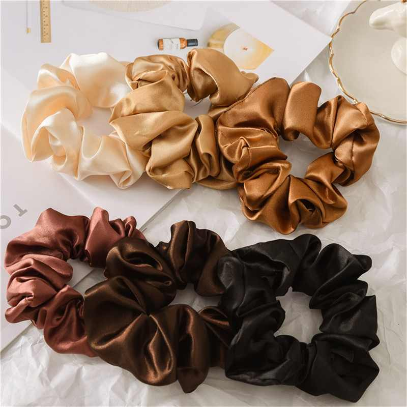 1PC Fashion Solid Color Scrunchies Hair Ties for Women Girls Reflect Light Elastic Hair Bands Ponytail Holder Hair Accessories