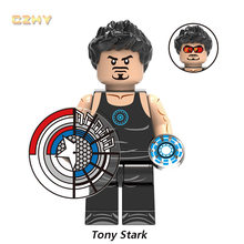 Marvel Tony Stark กับหมวก Shield Super Heroes MINIFIGURED Quicksilver Kingpin Red Skull Dwarf legoingly อาคารบล็อกของเล่น(China)