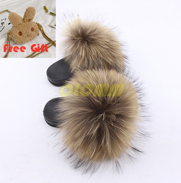 Children's Velcro Fox Fur Slippers Baby Elastic Band Shoes Girls Fluffy Furry Sandals Kids Toddler Slippers Wallet Shoes Set Quality First