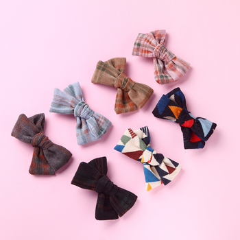 1pcs Corduroy Bow Hair Clips for Girls Lovely Bowknot Accessories Elastic Nylon headands Solid Headwear Kids Head