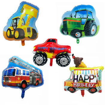 Cartoon Car Fire Truck Train Ambulance Foil Balloon Birthday Party Decoration Baby Shower Inflatable Helium Ballons Kids Toys image