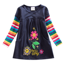 Girls Long Sleeve Dress Cotton Embroidered Dress Autumn New 2~8 Years Old Child Dressed for Girls Dress Long Sleeve H2762
