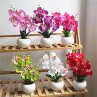 1 Set phalaenopsis potted artificial Silk orchid flower + Ceramic Flowerpot simulation flower home Christmas decor bonsai gift