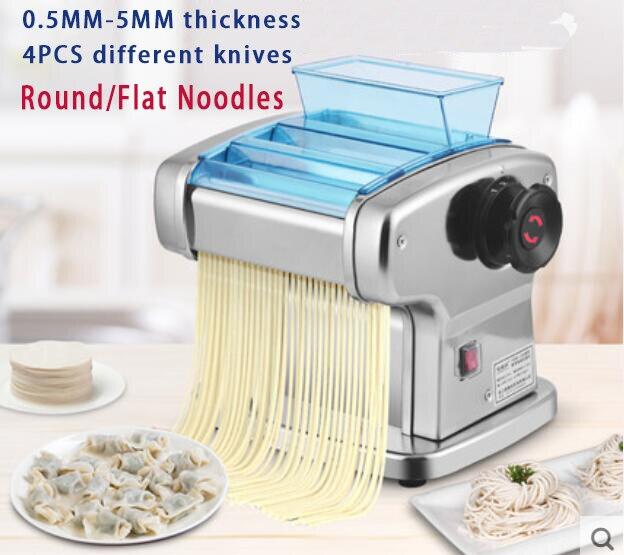 Noodle Press Machine Automatic Commercial Stainless Steel Electric Pasta Maker Machine Dough Cutter Dumpling Skin Machine 220V