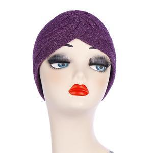Image 3 - Glitter muzułmanki Turban czepek dla osób po chemioterapii indie chustka na głowę maska utrata włosów kapelusz hidżab plisowana, elastyczna okładka na głowę islamska moda