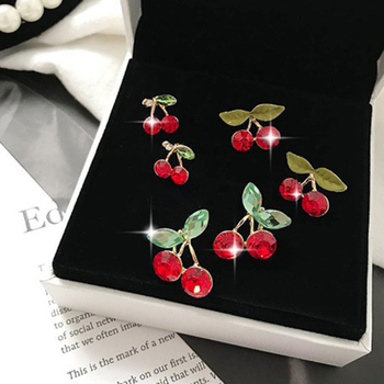 LE SKY Fashion Red Crystal Pearl Cute Cherry Earrings Fruit Drop Earrings For Women Girl Vacation.jpg 350x350 - LE SKY Fashion Red Crystal Pearl Cute Cherry Earrings Fruit Drop Earrings For Women Girl Vacation and Leisure Jewelry