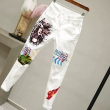 Autumn Women White Jeans Long Stretch Skinny Pencil Pants Cartoon Printing Cotton Denim