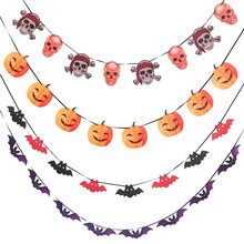 1pcs Horror Skull Pumpkin Halloween Paper Banners Fabric Scary Garland Decor Party Accessories Props Flags and