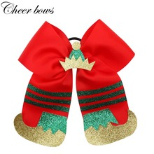 7 Christmas Hair Bows for Girls Ribbon Bowknot Elastic Bands with Glitter Hat Shoes Cheer  Xmas Accessories