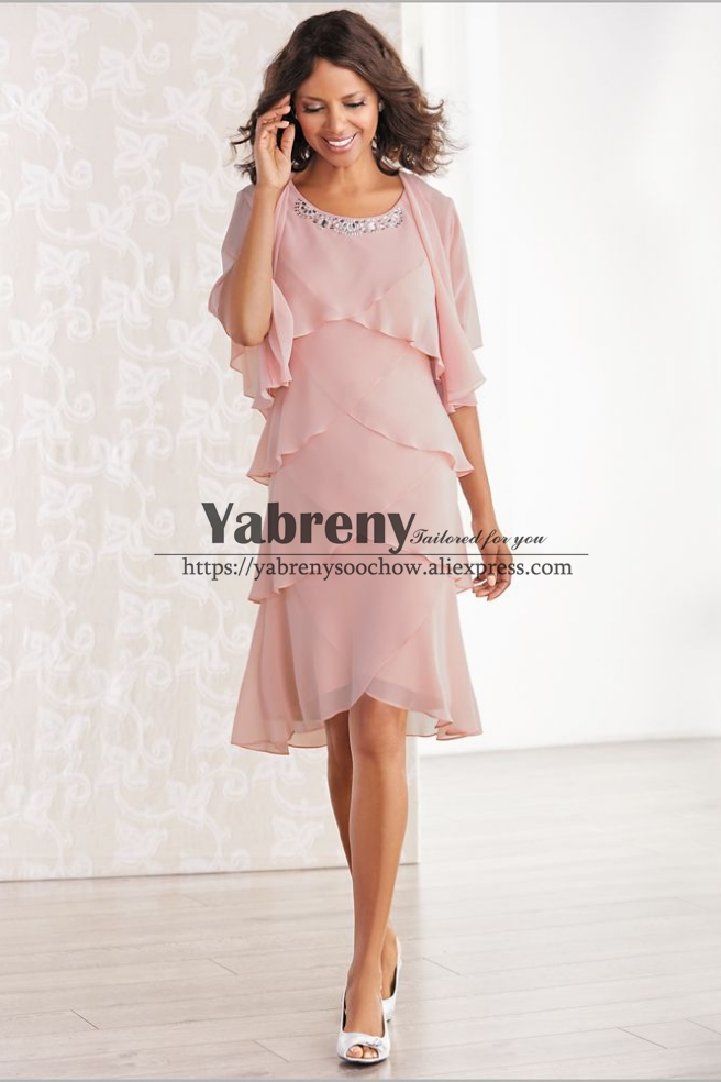 Comfortable Pink Chiffon Layered Mother Of The Bride Dresses With Jacket Custom Plus Size