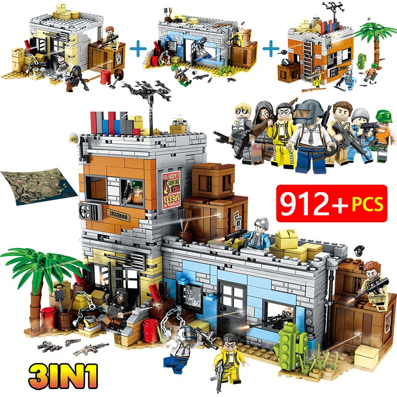 912PCS Military WW2 City Police Building Blocks Legoing  Army PUBG Battlegrounds Soldiers Weapon Gun Figure Bricks Toys For Boy