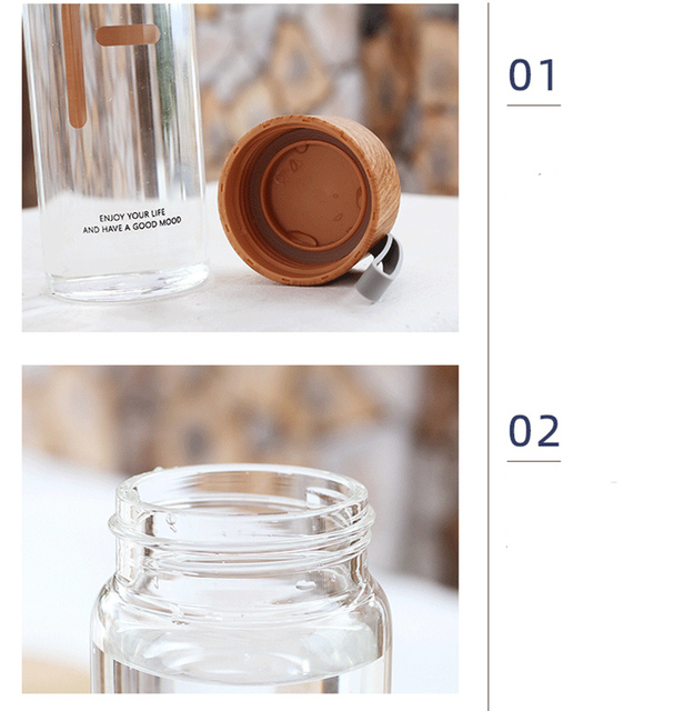 Wood Grain Color Glass Water Bottle With Rope High Borosilicate Glass Water Bottles Leakproof For Sports Ofiice 4