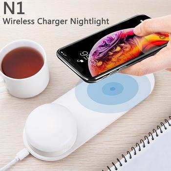 DishyKooker, многофункциональный светодиодный, магнитный, быстрая зарядка, беспроводное зарядное устройство, ночник, светильник для iPhone, huawei, Xiaomi