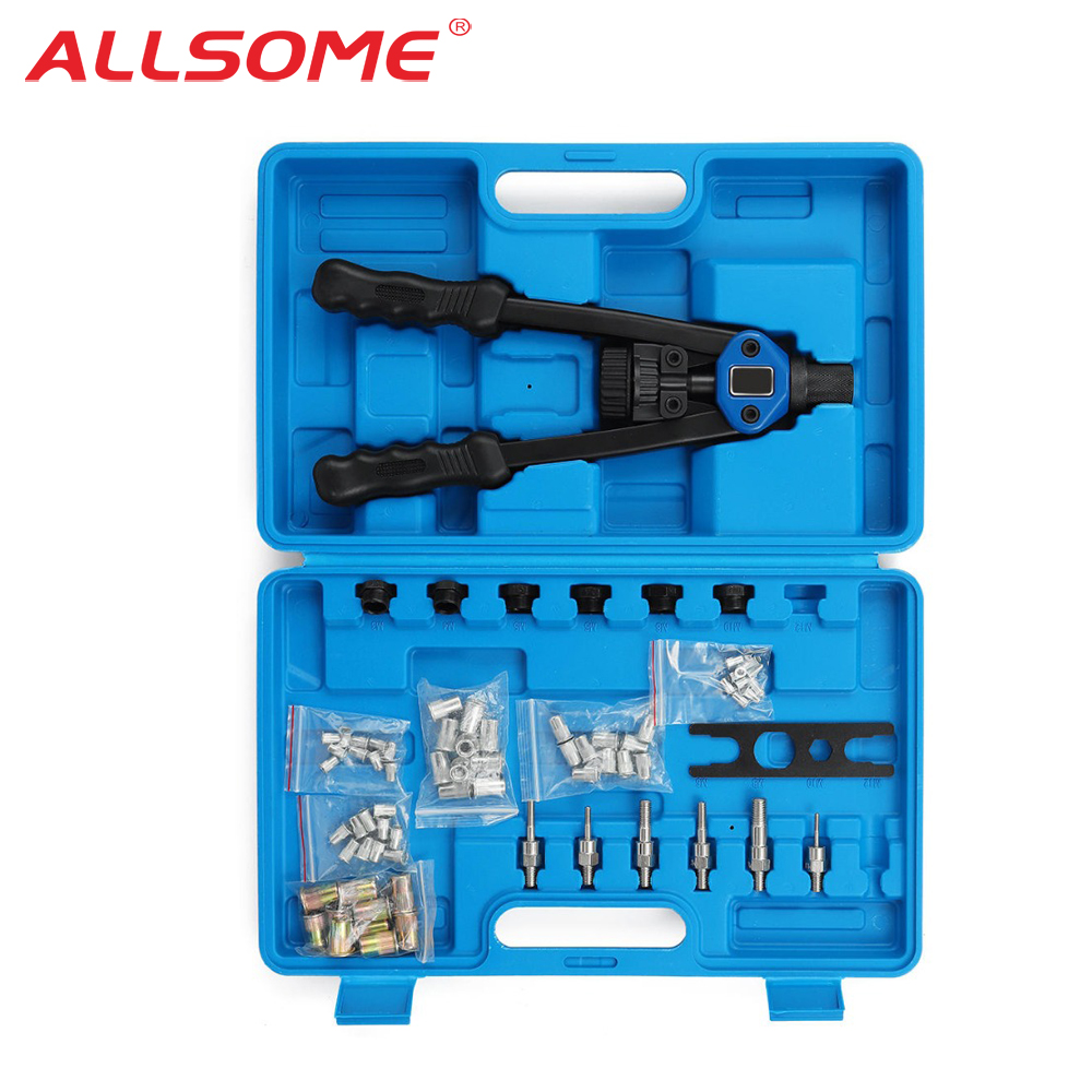 ALLSOME Blind Rivet Nut Gun M3 M4 M5 M6 M8 M10 M12  Heavy Hand Inser Nut Tool Manual Mandrels With Luxury Box Rivnut Gun