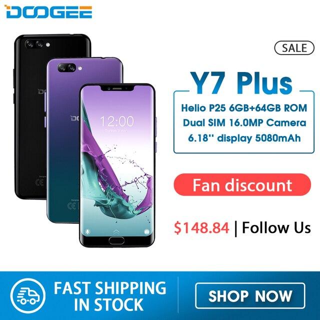DOOGEE Y7 בתוספת הסלולר 6.18 אינץ 1080*2246 מסך MTK6757 אוקטה ליבות 2.5GHz 6GB RAM 64GB ROM 16.0MP + 13.0MP 5080mAh אנדרואיד 8.0טלפונים ניידים