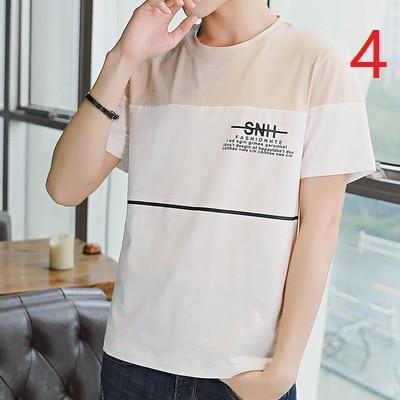 2019 summer short-sleeved men's T-shirt trend boys new cotton t-shirt loose round neck half-sleeved shirt 8077