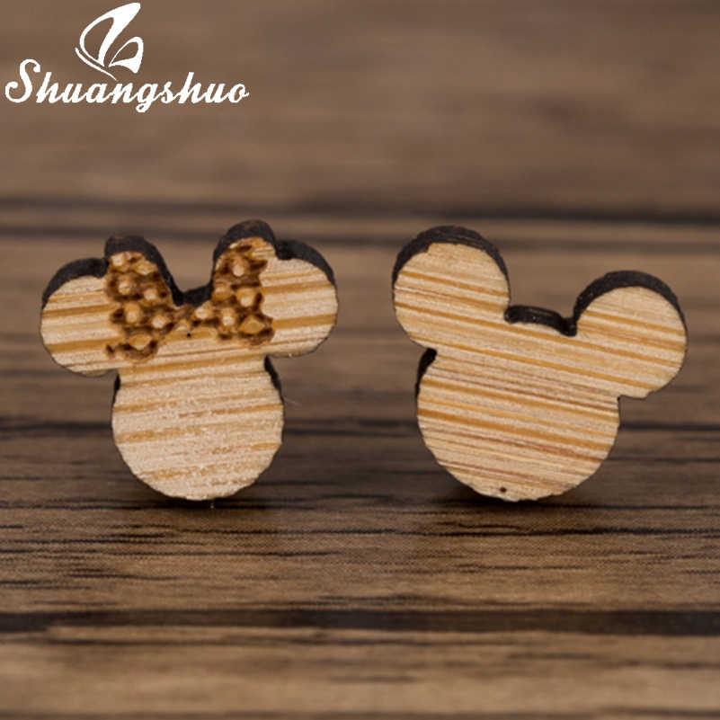 Shuangshuo Phong Cách Âu Mỹ Gỗ Gấu Bông Tai Nữ Trẻ Em Hình Thú Dễ Thương Mickey Đính Earings Trang Sức Thời Trang Oorbellen