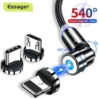 Essager-Cable magnético giratorio 540 para móvil, Cable Micro USB tipo C para iPhone y Xiaomi, cargador magnético de carga rápida
