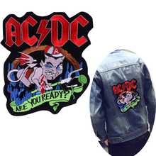 Pulaqi ACDC Rock Band Patch On Clothes Large Back Embroidered Patches For Clothing Hippie Punk Logo Badge Applique Stripes