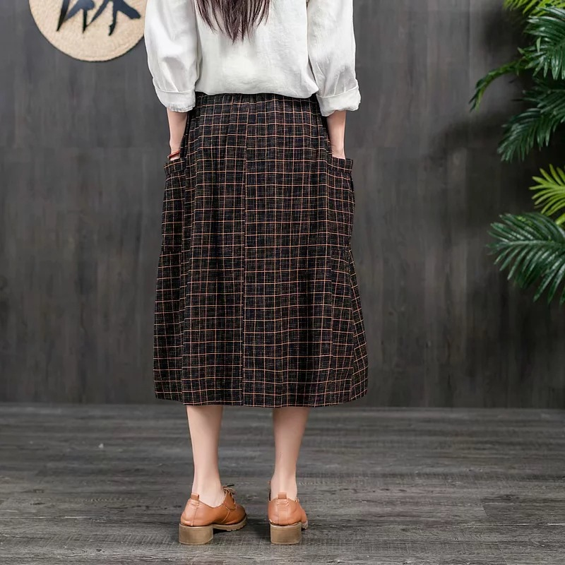 Japanese-style Mori Girl Line 2019 Spring And Summer WOMEN'S Dress Versatile Slim Fit Slimming Plaid Retro Cotton Linen Buckle S