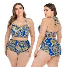 #19 Women Tankini Printed Halter Top High Waist Bikini Swimwear Lady Underwire Padded Bra Plus Size Swimsuit Beach Suit цена 2017