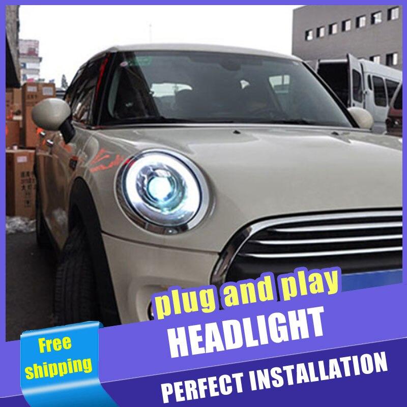 2 pièces voiture Style LED phares pour BMW mini F56 2014-2019 pour lampe frontale LED DRL lentille Double faisceau H7 caché xénon bi xénon lentille
