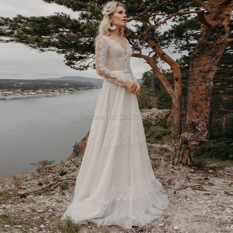 Bohemia A Line Wedding Dresses V Neck Long Sleeves Vestido De Noiva Sweep Train Bridal Gown Button Illusion