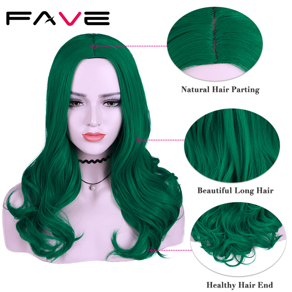 FAVE Pure Green Long Wavy Green Purple  Black Pink Synthetic Wigs 22 Inch 12 Color For Black White Women Cosplay Party Wigs