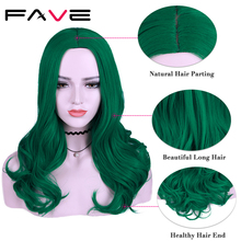 FAVE Pure Green Long Wavy Red Purple Black Pink 99j Synthetic Wigs 22 Inch 12 color For Black White Women Cosplay Party Wigs
