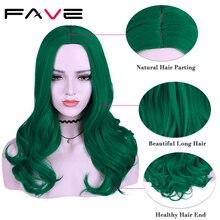 Женские длинные волнистые парики FAVE, зеленые, фиолетовые, черные, розовые синтетические парики, 22 дюйма, 12 цветов, вечерние парики для косплея
