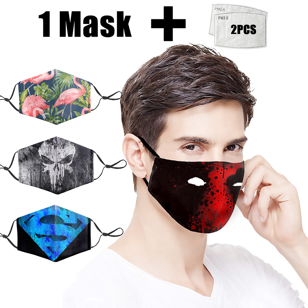 Reusable Face Masks PM2.5 Filter Mask Marvel 3D Printing Adult Anti Dust Face Mouth Mask Mouth-muffle Bacteria Proof Flu Masks