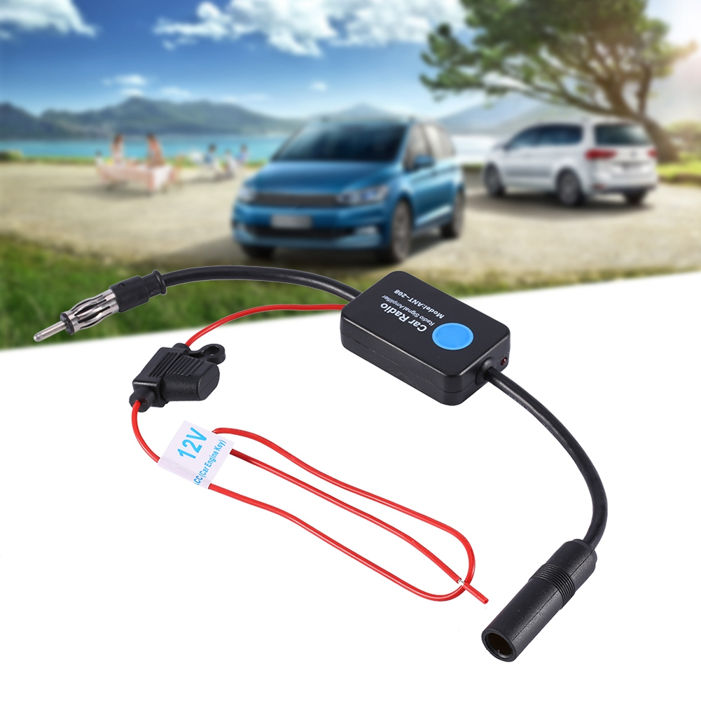 Universal Antenna FM Radio Amplifier​​ Aerial Signal Booster Antenna Radio Amplifiers 12V With Adhesive And Red Clip