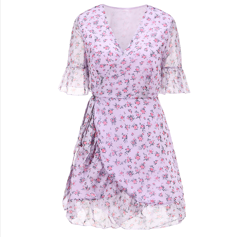 DICLOUD Women Lilac Floral Wrap Dress Summer Elegant Flare Sleeve Boho Print Mini Sundress Sexy V Neck Ladies Clothes 2020