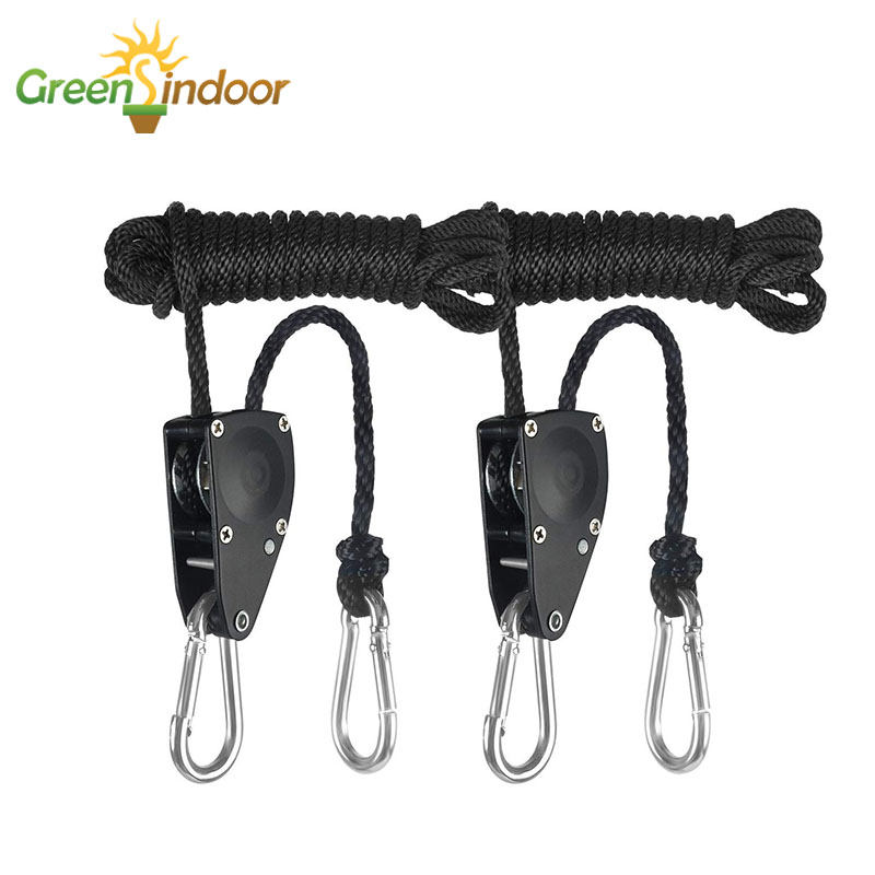 2PCS 1/8 Inch Nylon Rope Ratchet For Grow Tent Adjustable Lamp Hangers Led Grow Light Room Hanging Kit Indoor Reflector Lifters
