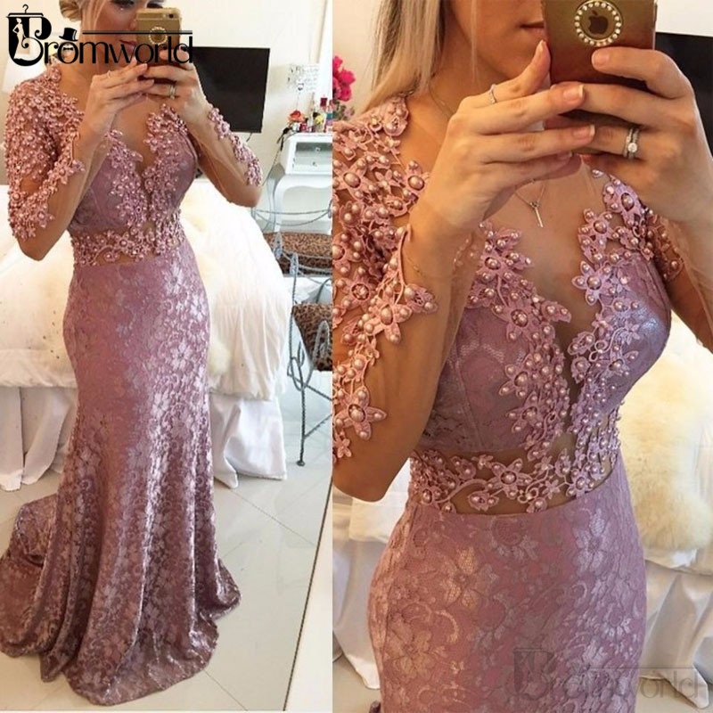 Elegant Mermaid Muslim Evening Dresses 2020 O-Neck Long Sleeves Lace Pearls Islamic Dubai Saudi Arabic Formal Evening Gown Long