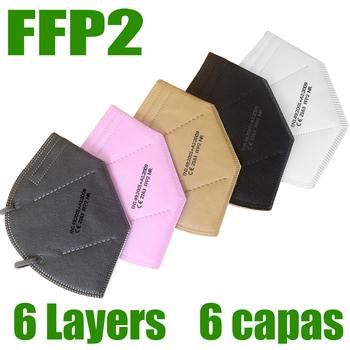 10-200 sztuk ffp2 maska 6 warstwy filtr pyłu port PM2 5 mascarillas fpp2 ochrona zdrowia CE maska szybka dostawa tanie i dobre opinie NoEnName_Null Chin kontynentalnych Ochrona przed kurzem Jeden raz Dla dorosłych EN 149-2001 + A1-2009 Maski
