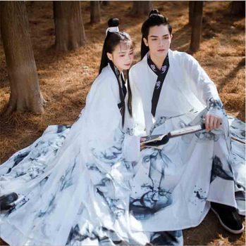 זוגות Hanfu סיני עתיקות מסורת שמלת פנטזיה למבוגרים קוספליי תחפושת המפלגה תלבושת לבן Hanfu עבור גברים & נשים בתוספת גודל