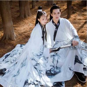 Couples Hanfu Chinese Ancient Tradition Dress Fantasia Adult Cosplay Costume Party Outfit White Hanfu For Men&Women Plus Size(China)