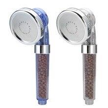 ספא מקלחת ראש ממטרה יונים שליליים אניון טמפרטורת חיישן Rgb צבע בריא כף יד ספא מקלחת זרבובית
