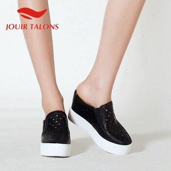 JOUIR TALONS 2020 New Arrivals Genuine Leather Women Sandals Round Toe Wedges Platform Summer Casual Women Shoes