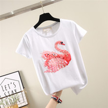 T-shirt à manches courtes vêtements pour femmes nouveau Style coréen printemps et été Slim-Fit Sequin Swan T-shirt filles étudiants T-shirt noir(China)