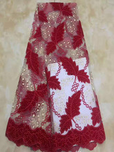 цена African lace fabrics 5 yard wholesale lace dress women wedding dress french lace with stone cd-1255 онлайн в 2017 году