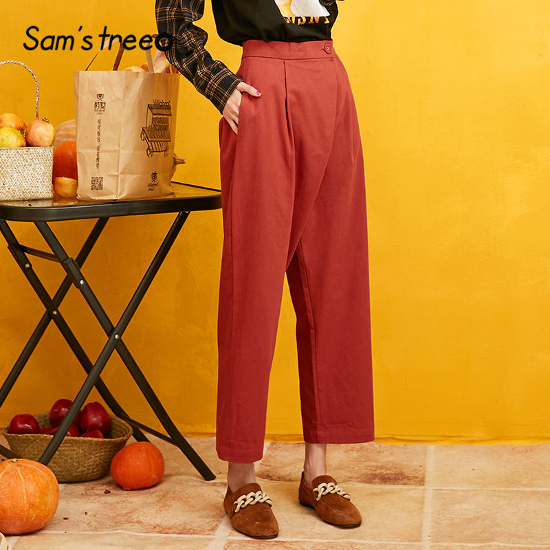 Samstree Red Solid Straight Single Button Women Pants 2019 Autumn Black Irregular Waist Pocket Casual Office Ladies Trousers