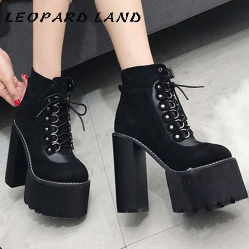 LEOPARD LAND Women's Martin Boots Thick Super Women's Boots with High-heeled Ankle Boots Platform Lace Up Casual Shoes .JXQ-7863