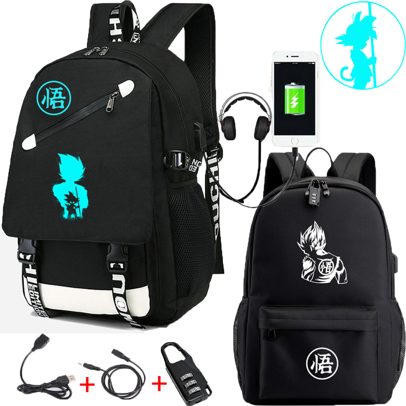 IMIDO Dragon Ball Z Backpacks Luminous Students Cartoon USB Charging Shoulders Backpack Black Breathable Back To School Bag