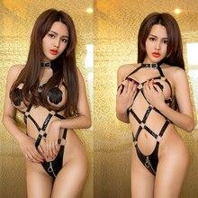 Pu skin European and American sexy underwear exposed breast binding onesie uniform set